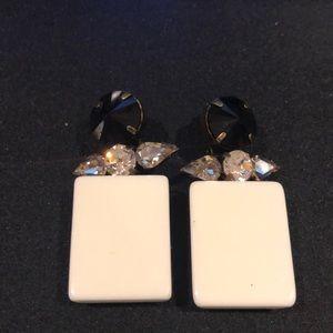Stunning White and Black Resin Earrings